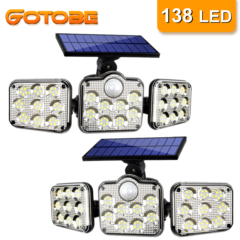 Sensor de Movimento Ao Ar Livre Luz Solar 138 LED 3 Cabeça 270 ° de Ângulo Amplo de Iluminação Garagem Controle Remoto Parede De Luz Solar para Jardim