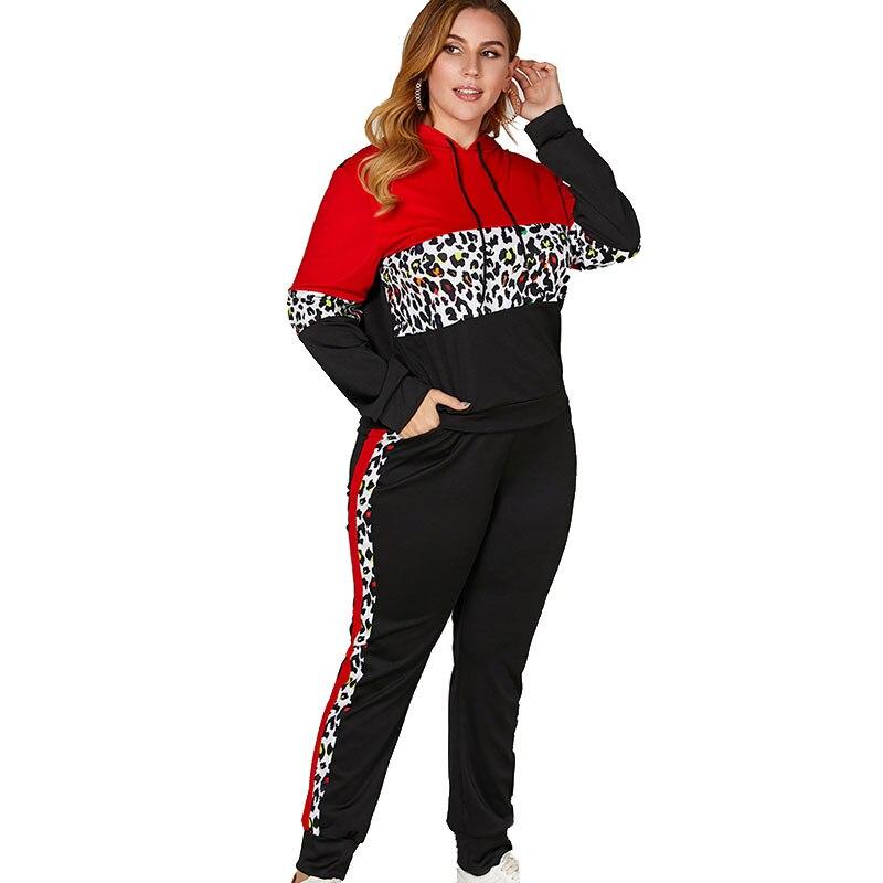 Для женщин спортивный костюм комплект из двух предметов худи с леопардом кроп топ с длинными рукавами и штаны комплекты Спортивный костюм; ...