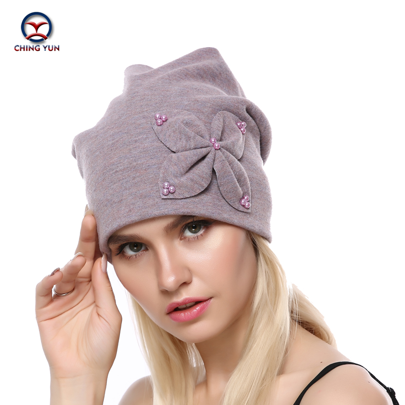 CHINGYUN 2019 New Solid Color Winter Warm Cashmere Knit Hat Decorative Flowers And Imitation Pearls High Quality Wool Female Hat