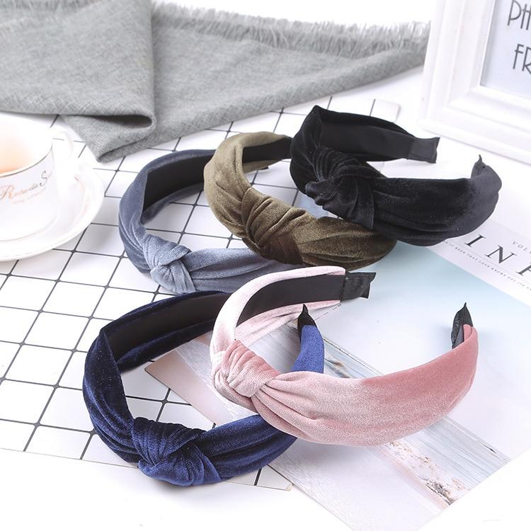 2019 Velvet Women Headbands Knotted Women Vintage Hair Accessories WinterSolid Turban Elastic Hairband Head Hoop Head Band