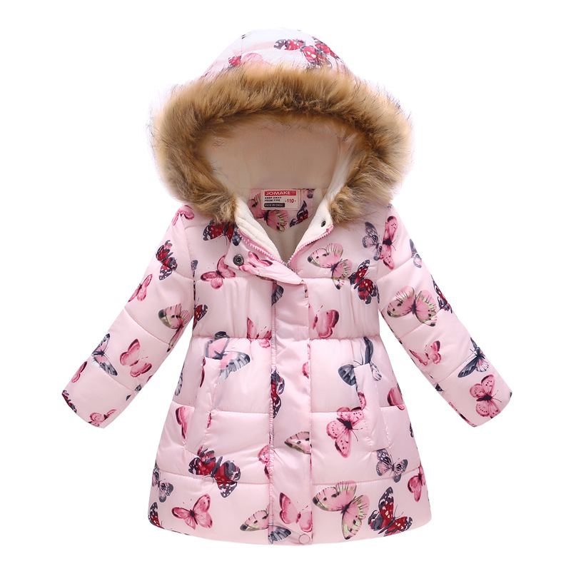 Winter Girls Warm Down Jackets Kids Fashion Printed Thick Outerwear Children Clothing Autumn Baby Girls Cute Jacket Hooded Coats 2
