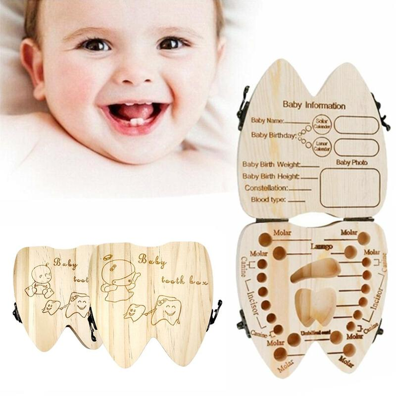 Baby Tooth Box Small Cute Wooden Milk Teeth Souvenir Case Children's Growth Memorial Gifts Kids Tooth Storage Box Birthday Gifts
