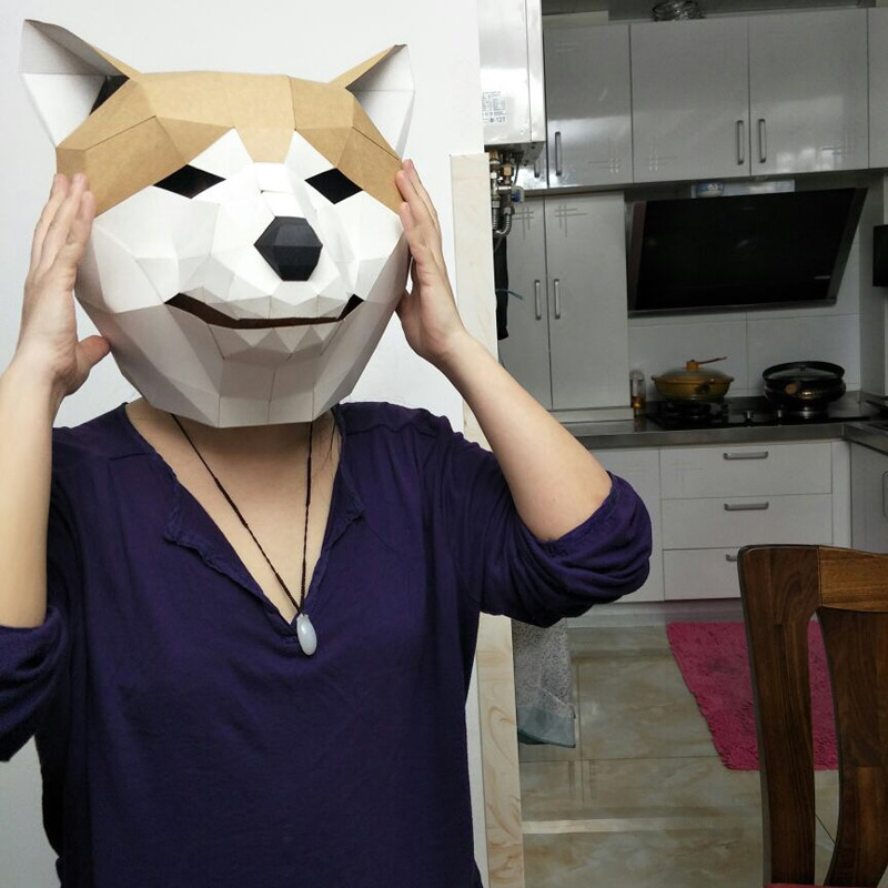 Cute Dog DIY Mask Cosplay Christmas Costume  Adult Children Cardboard Breathable Halloween Ricky Funny Masks