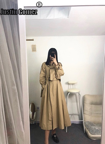 Women British Double Breasted Slim Long   Trench   Coat Windbreaker Khaki Color High waist Ladies overcoats