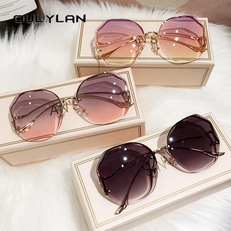 Oulylan 2021 Fashion Tea Gradient Sunglasses Women Ocean Water Cut Trimmed Lens Metal Curved Temples Sun Glasses Female UV400