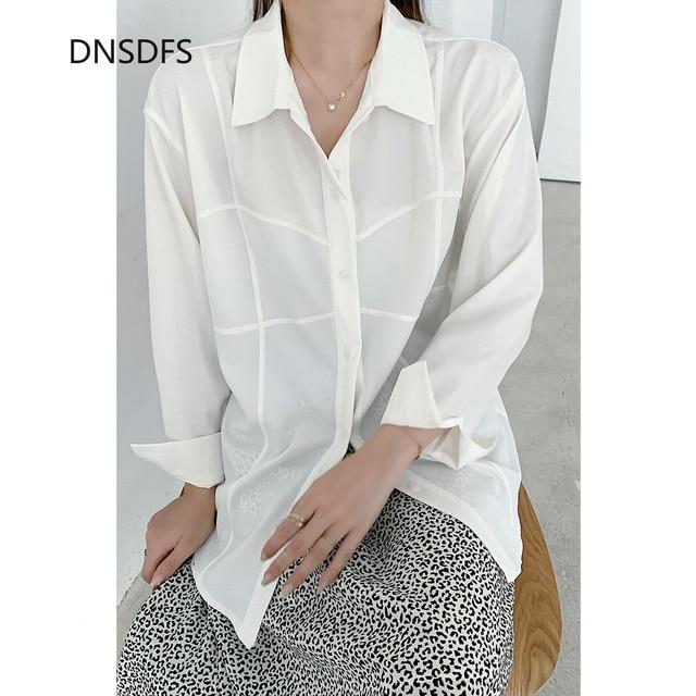 White Shirts Women Retro Oversized Tops Blouses Harajuku Long-Sleeve Chic Lapel Loose Shirt Women's Autumn Blouses Blusas Mujer 3