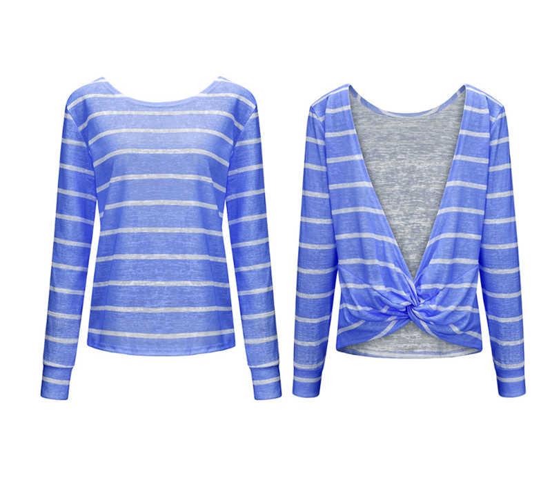 Hirigin 봄 여름 여성 캐주얼 불규칙한 backless 스트 라이프 긴 소매 부드러운 느슨한 니트 스웨터