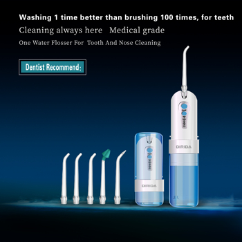New DIRIDA Portable Fold Oral Irrigator Rechargeable Water Dental Flosser Cordless Water Dental Flosser 5 Jet Tips 200ml new dental endotreatment device wireless cordless motor equipment