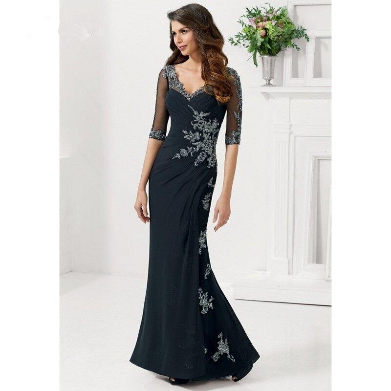 Elegant Long V Neck Mermaid Mother Of The Bride Dresses With Sleeves Plus Size New Fashion Vestido De Madrinha For Weddings
