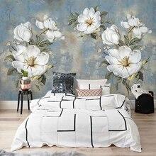 Papel de pared personalizado murales Vintage abstracto pintura al óleo flores gran Mural dormitorio Sala decoración fondos de pared decoración para el hogar