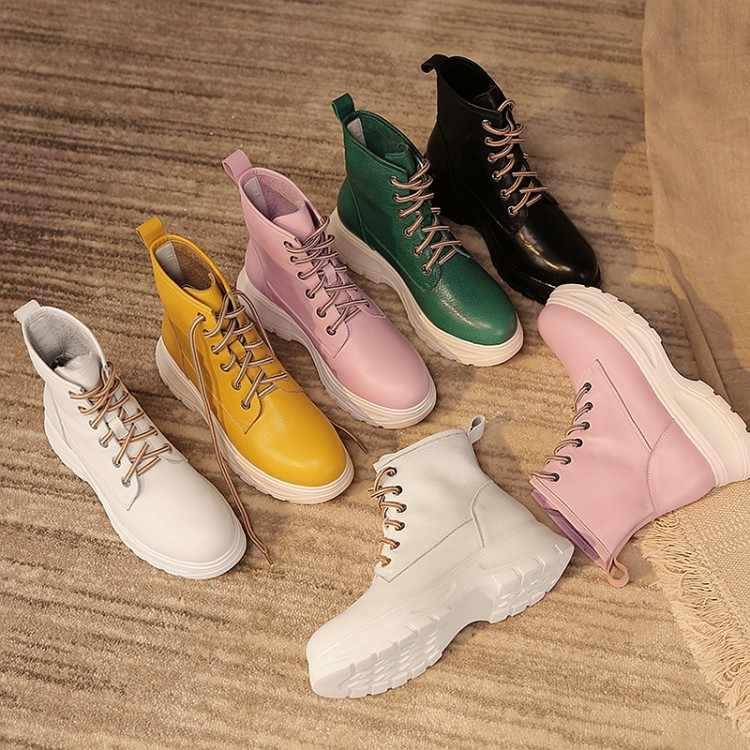 Fujin Kulit Asli untuk Wanita Panjang Hangat Plush Booties Sepatu Fashion Pergelangan Kaki Sepeda Motor Sepatu Elegan Musim Dingin Musim Semi untuk Wanita