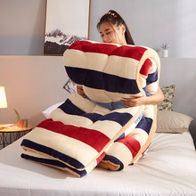 Edredón grueso de lana para invierno, tela de Cachemira y terciopelo con estampado Floral de cordero y planta, edredón, manta de edredón individual