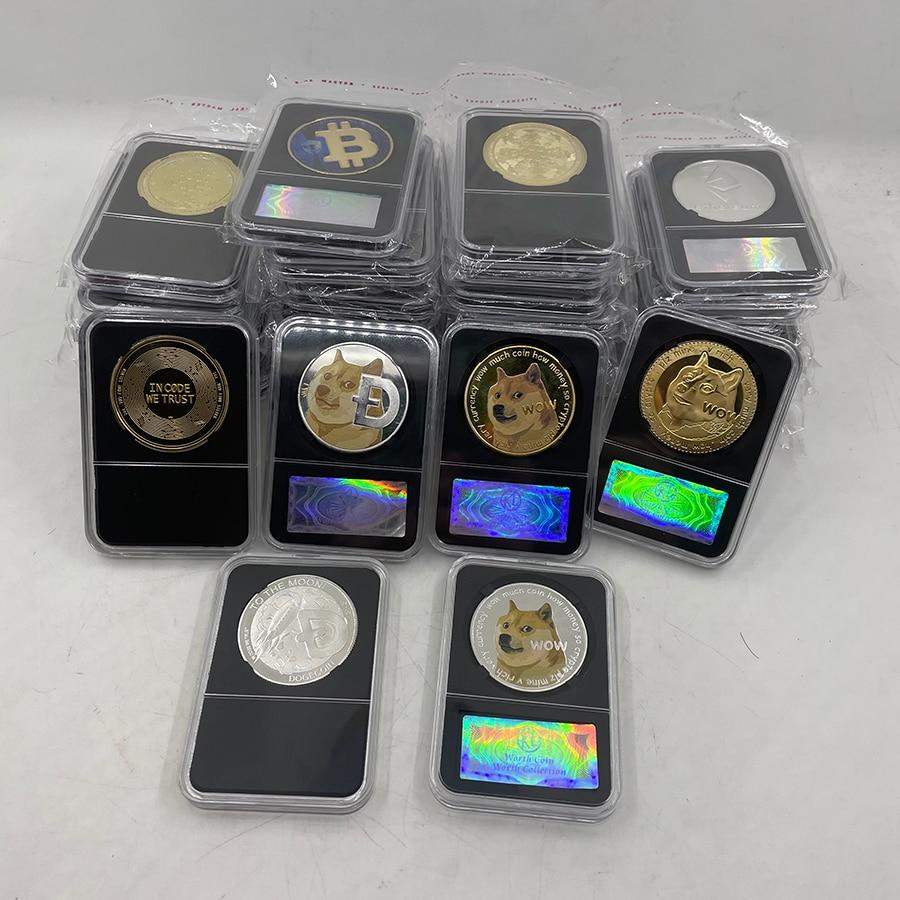 36 type Dogecoin/Bitcoin/ETH/Litecoin/Dash/Ripple/Monero/EOS Metal Physical Silver/Gold Ada Cardano Coin with Black Acrylic Case 1
