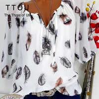 TTOU, модные женские блузки, летние топы, новинка, блузка для отдыха, белая, свободная, с принтом перьев, v-образный вырез, половина рукава, рубаш...