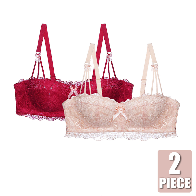 2 Piece Bras For Women Small Breast Wireless Brassiere Lace Super Push Up Bra And Panty <font><b>Set</b></font> <font><b>Half</b></font> <font><b>Cup</b></font> <font><b>Sexy</b></font> <font><b>Lingerie</b></font> <font><b>Set</b></font> Underwear image