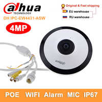 Dahua DH IPC-EW4431-ASW 4MP Panorama Netzwerk Fisheye ip Kamera wifi H.265 mic slot Audio Alarm cctv sicherheit Kamera