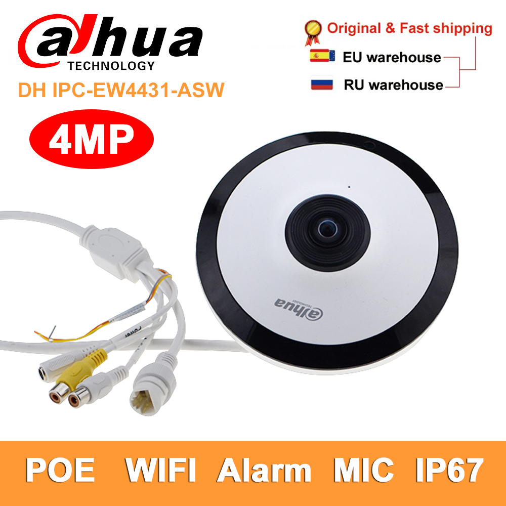 Dahua DH IPC-EW4431-ASW 4MP Panoramic Network Fisheye Ip Camera Wifi H.265 Mic Slot Audio Alarm Cctv Security Camera