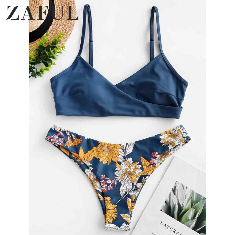 ZAFUL Women's Flower Surplice Padded Bikini Swimsuit 2020 Womens Bikini Set Cut Flower Swimsuit Push up Swimwear Beachwear