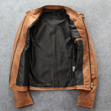 Autumn New Products Japanese-style Genuine Leather Clothes Men's Pakistan Sheep Skin Slim Fit Stand Collar Biker Leather Jacket