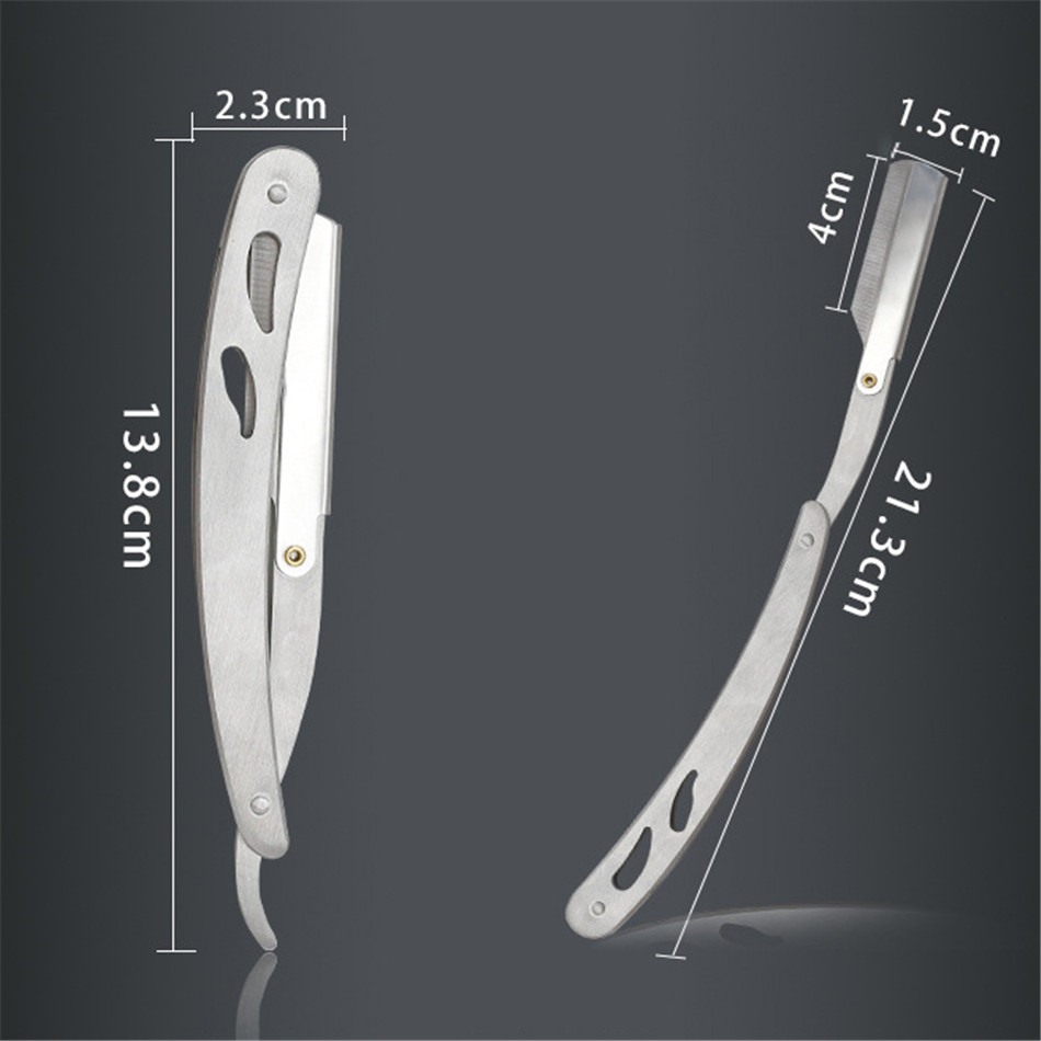 Men Shaving Barber Tools Hair Razor and Blades Antique Black Folding Shaving Knife Stainless Steel Straight razor Holder