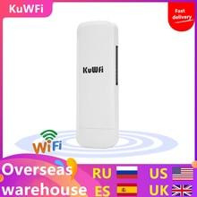 Kuwfi 3Km 2.4G 300Mbps Wifi CPE Router Wifi Repetidor Wifi Extender Puente inalámbrico Punto de acceso para cámara inalámbrica Pantalla LED