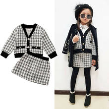 Kids Baby Girls Clothes Vingate Elegant Plaid 2Pcs Outfits V-Neck Coats Mini Skirts Children Girl Autumn Winter Formal Outfits(China)