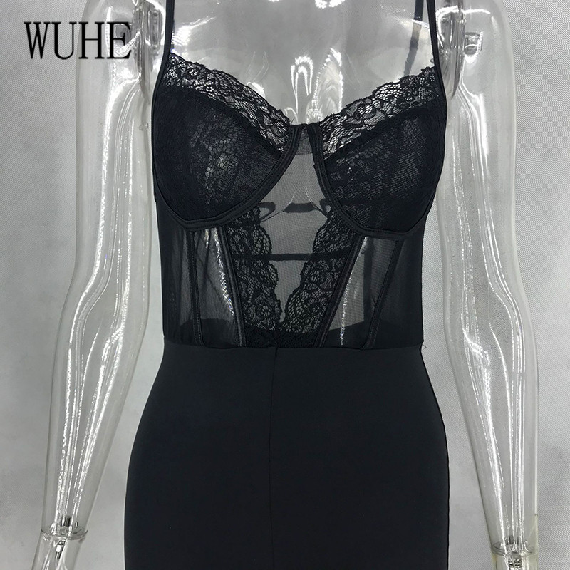 Hbbe8f9f65d4042519d4c17bbbf95a8405 - WUHE Lace Patchwork Sexy Spaghetti Strap Jumpsuits Women Off Shoulder Sleeveless Elegant Bodycon Bandage Party Short Playsuits