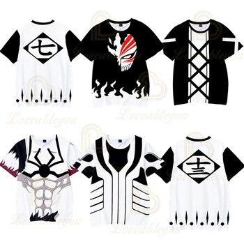 Anime BLEACH T Shirt 3d Print Tee Shirt Men Casual O-neck Hip Hop Summer Tee Top Homme Children 110-160 Clothes striped print o ring zip front tee