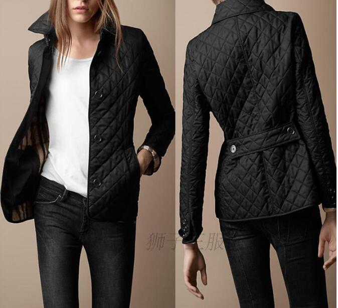 Plus Size 4XL Plaid Quilted Autumn Parkas Women Slim Turn Down Collar Long Sleeve Coat Jacket Female 2020 Winter Fashion Parka