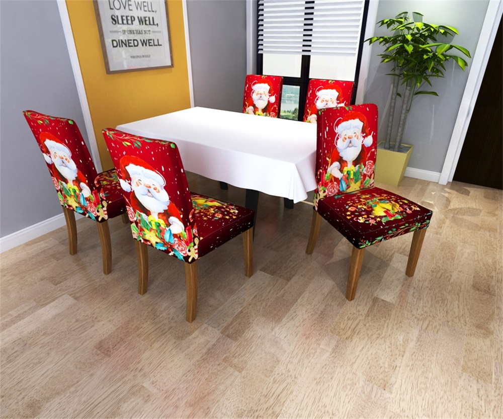 Spandex Printed Chair Cover Elastic Dining Chair Slipcover Seat Protector Stretch Removable Chair Covers Christmas Gifs
