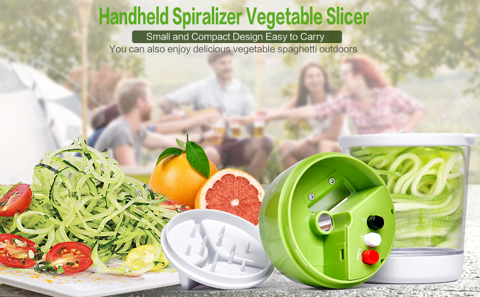 5 in1 Handheld Spiralizer Vegetable Slicer Adjustable Spiral Cutter with Container Zucchini Noodle Spaghetti Maker Spiral Slicer