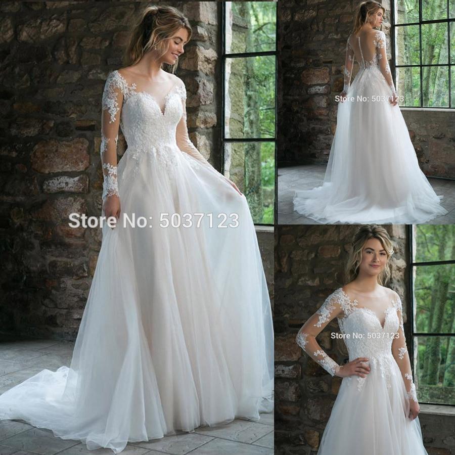 A Line Tulle Vestido De Noiva Wedding Dresses Scoop Long Sleeves Lace Appliques Court Train Button Illusion Bridal Gowns