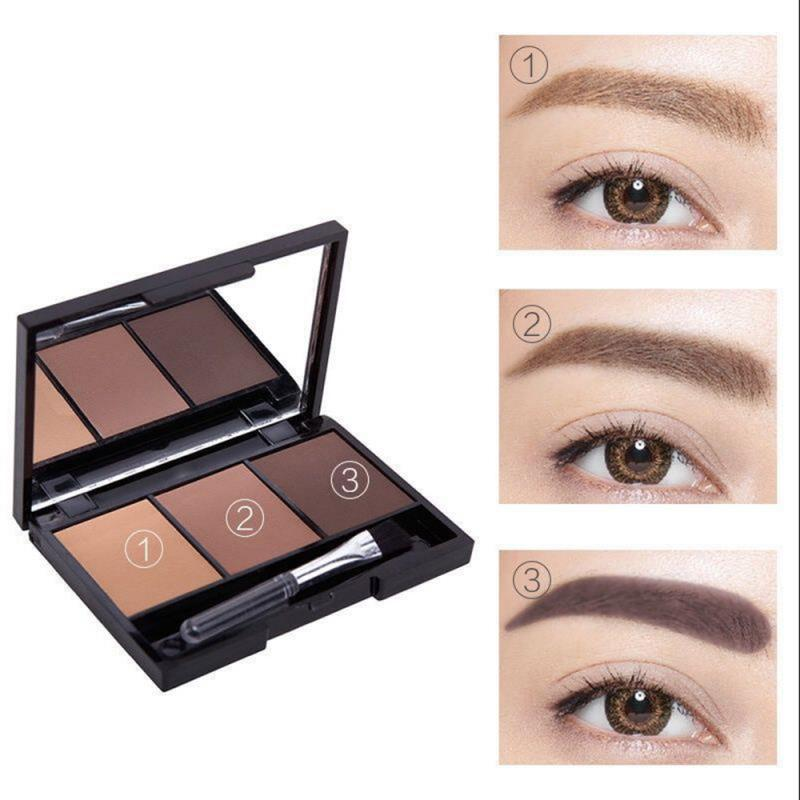 3D Double Color Eyebrow Powder Makeup Palette Natural Brown Eye Brow Enhancers Eye Brows Shadow Cake Beauty Kit With Brush TSLM1