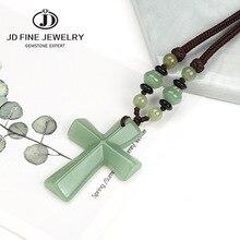 JD Natural Green Aventurine Stone Beads Cross Pendant Necklace for Men Women Catholic Christ Rosary Cross Pendant Length 24