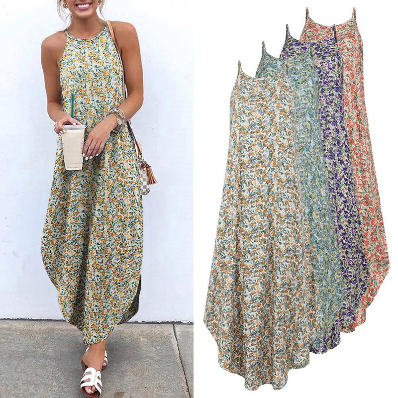 Printed Maxi Dresses VONDA Bohemian Sexy Sleeveless Sundress Women Causal Halter Summer Beach Dress Asymmetric Long Dresses 5XL