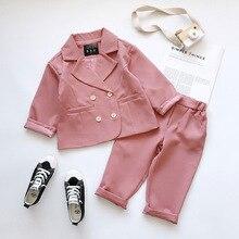 2019 Autumn New Arrival Girls Fashion Pink Suit Coat+pants 2 Pieces Suit Autumn Clothing  Kids Clothing