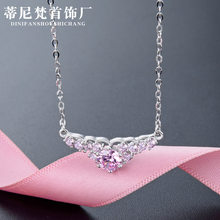 S925 Sterling Silver Necklace Women's South Korea Simple Diamond Set Zircon Pendant Short Choker Fine Silver Chain Necklace(China)