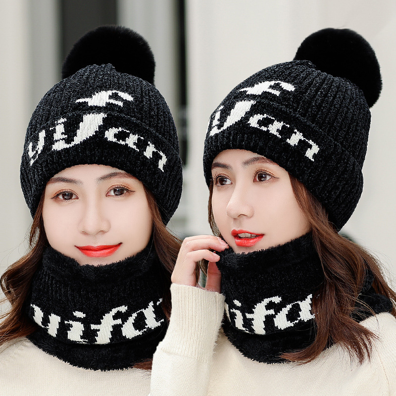 Winter Hat And Ring Scarf Set For Women Classic Thick Wool Kitted PomPoms Ball Winter Warm Hats Scarves Bonnet Beanie Caps