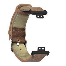 Skórzana opaska na nadgarstek pasek na pasek bransoletka na zegarek Huawei pasuje inteligentna opaska Retro wymienna inteligentna opaska na zegarek dla mężczyzn chłopców tanie tanio HEYGENIALES CN (pochodzenie) pasek do zegarka None Dla osób dorosłych Zgodna ze wszystkimi