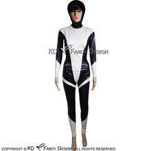 Black With White Sexy Space Latex Catsuit With Back Zipper Rubber Bodysuit Zentai Overall LTY-0117