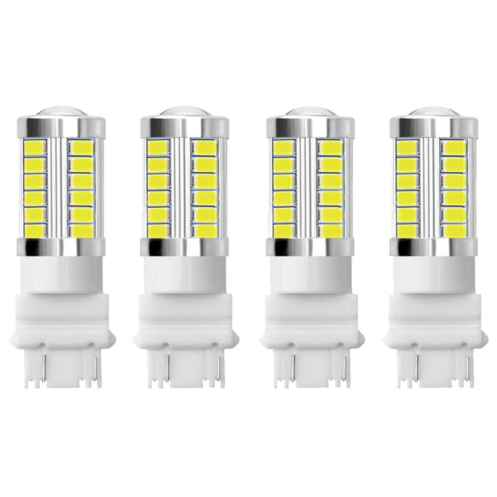 4Pcs White 3157 3457 3057 Signal 33SMD Backup Reverse Tail Turn LED Light Bulb