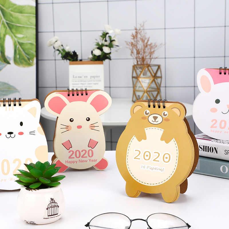 2019,10-2020,12 lindos animales de dibujos animados en forma de Mini oso conejo ratón gato portátil papel de escritorio calendario planificador diario