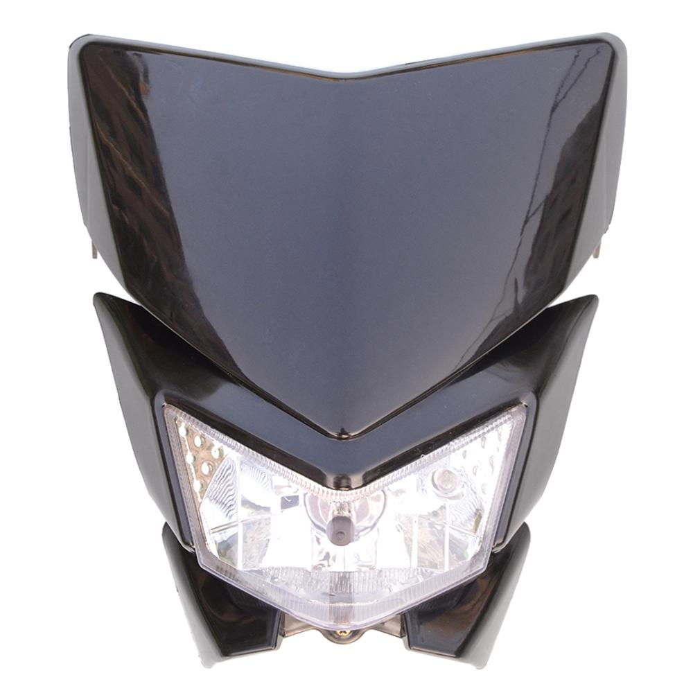 GOOFIT 12V 35W H4 black <font><b>headlight</b></font> lampshade with front fairing motorcycle <font><b>Dirtbike</b></font> off road motorcycle dit Pocketbike B126-002 image