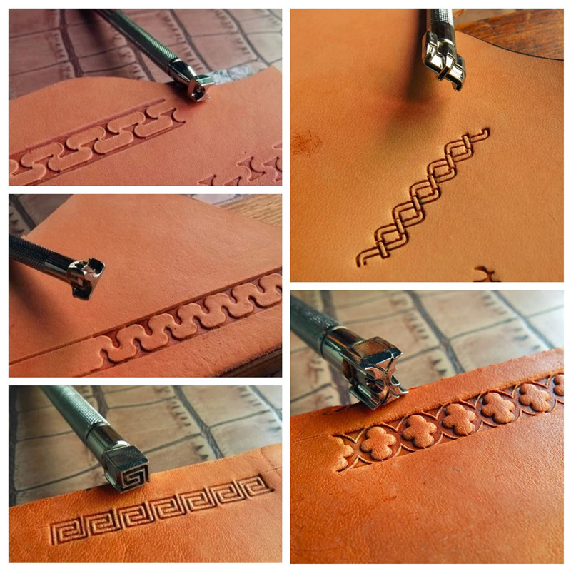 Leather Carving Embossing Tool DIY Handmade Leather Printing Stamp Decorative Pattern Carved Steel Border Engraving Craft Tool