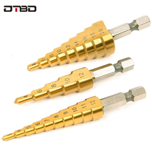HSS Titanium Step Drill Bits For Metal Wood Shank Stepped Bit 3-12/4-12/4-20/4-32 Carpenter Tools Auger Center Drill Hole