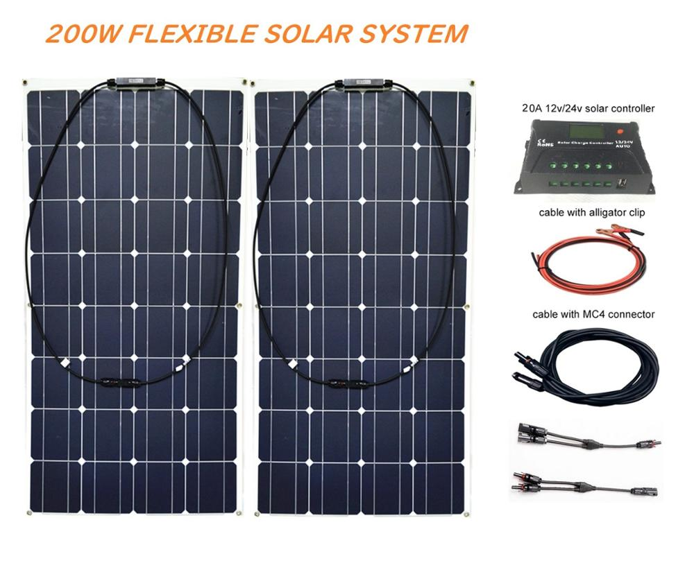 RG  200W Solar Energy System 12V 24v Controller +20A mono flexible panels for Fishing Boat Cabin Camping