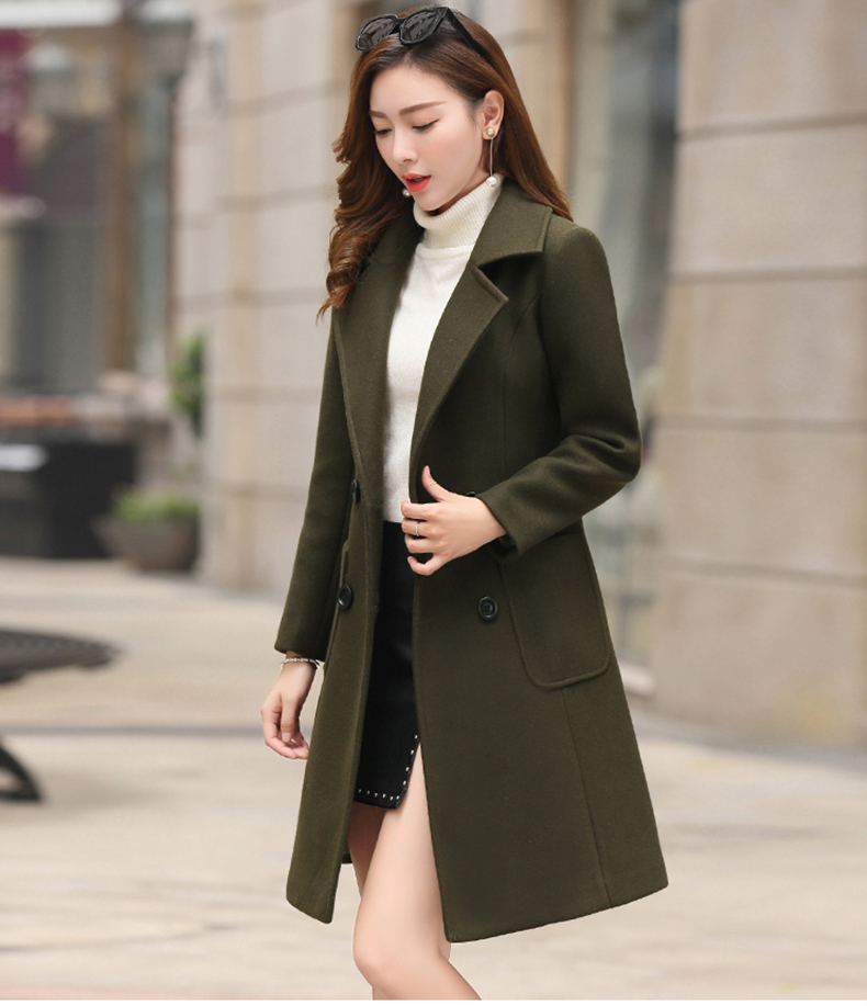 Woolen Women Jacket Coat Long Slim Blend Outerwear 2019 New Autumn Winter Wear Overcoat Female Ladies Wool Coats Jacket Clothes 8