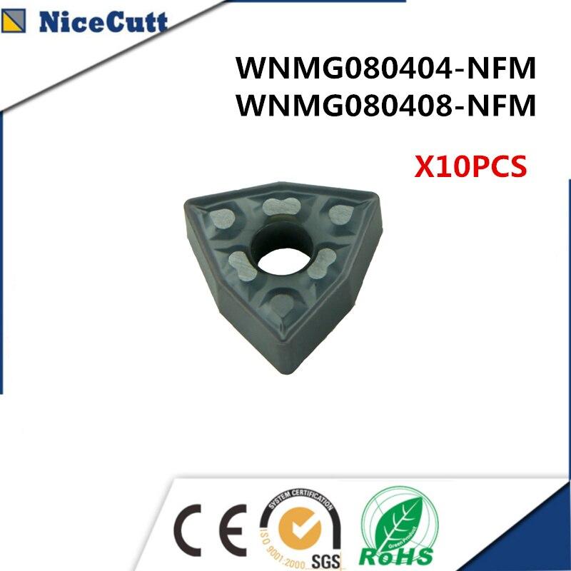 10pcs WNMG080404-NFM/WNMG080408-NFM For DWLNR2020K08/DWLNR2525M08 Steel Hard Steel Lathe Tool Holders Nicecutt Freeshipping