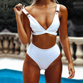 Mulheres sólidos cintura alta biquíni maiô sexy com decote em v cortar conjunto biquíni swimwear brasileiro push up maiô biquini beachwear
