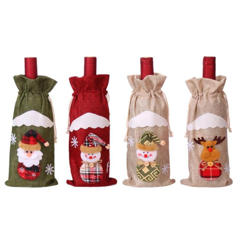 Cute Christmas Red Wine Bottle Cover Bags For New Year Xmas Dinner Party Decor Used For Window Decoration Product Counters